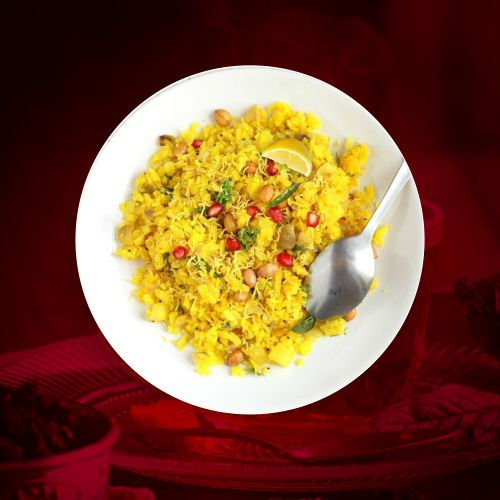 spicy and delicious mouth watering poha in hotel shivrama